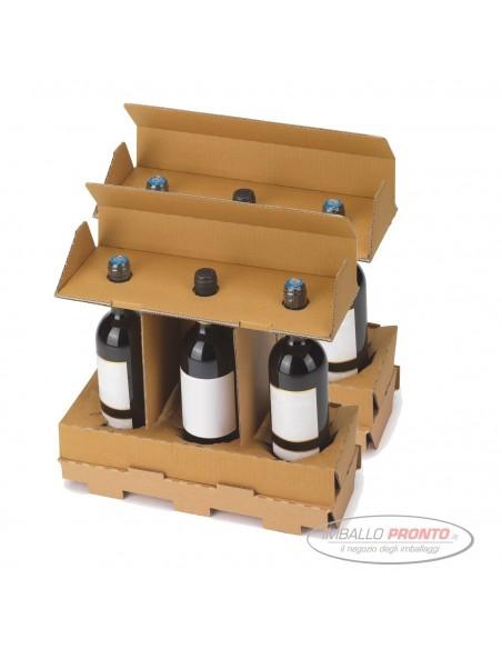 Scatola omologata per 6 bottiglie preassemblata